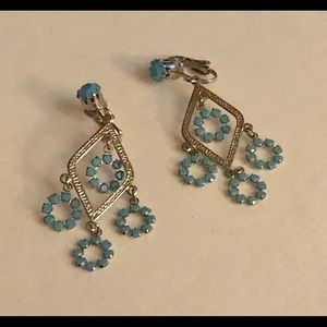 Turquoise Dangle Clip On Earings